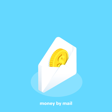 gold coin in a white envelope on a blue background, isometric image