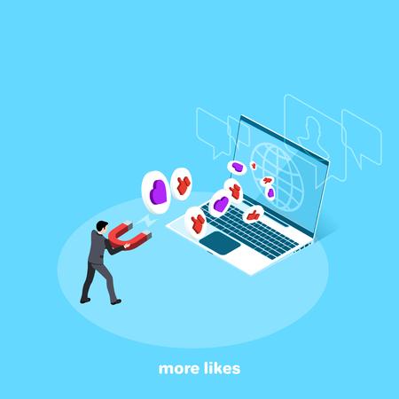 Ein Mann in einem Business-Anzug mit einem großen Magneten zieht einen Laptop-Bildschirm an, ein isometrisches Bild