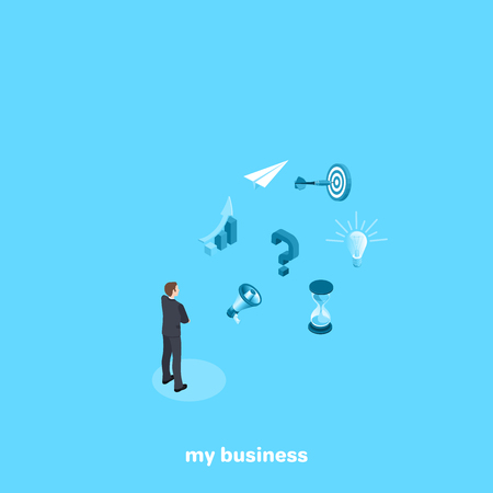 a man in a business suit faces a choice to promote his business, an isometric image