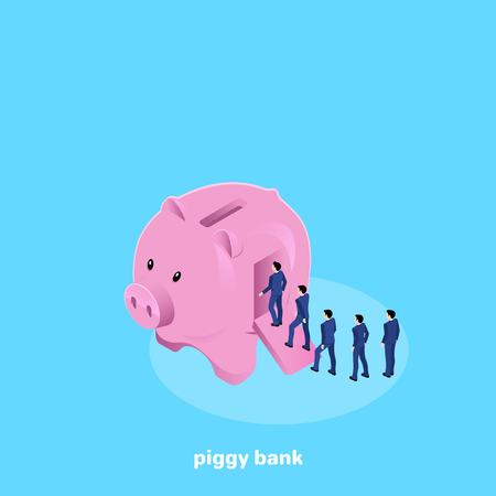men in business suits go into a piggy bank, an isomeric image