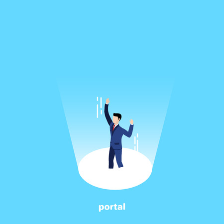 a man in a business suit falls into a portal emitting light, an isometric image