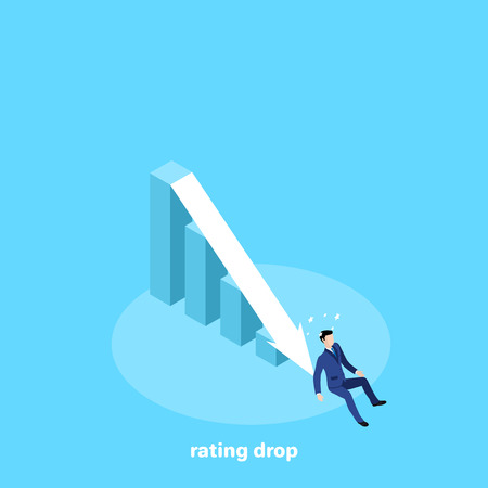 the man in a business suit fell to the bottom of the chart, an isometric image Illustration