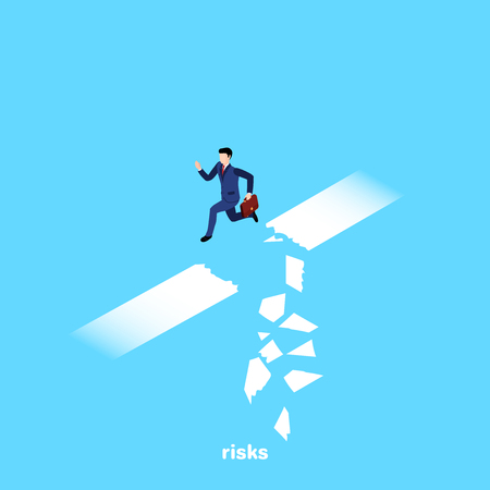 a man in a business suit jumps over a shattered section of the road, an isometric image