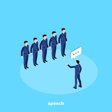 a man in a business suit speaks in front of his subordinates, an isometric image