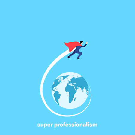 a man in a business suit and a super cloak flies around the globe, an isometric image Illustration