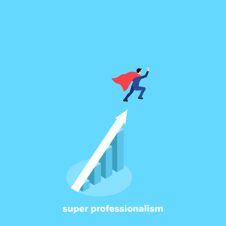 a man in a business suit and a super cloak flies up over a growing diagram, an isometric image Illustration