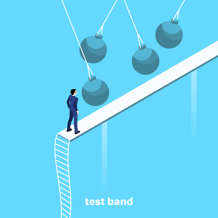 a man in a business suit is going to pass a streak with obstacles, an isometric image Ilustração
