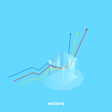 refraction of rays in a transparent glass cube, isometric style Illustration