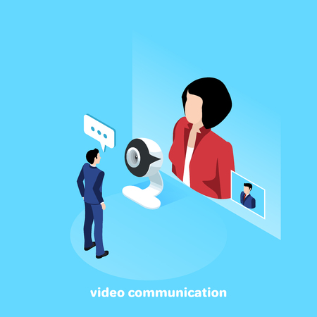 a man in a business suit communicates with a woman through a video connection via a web camera, an isometric image