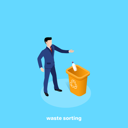 a man in a business suit throws an empty plastic bottle into a garbage can, an isometric image