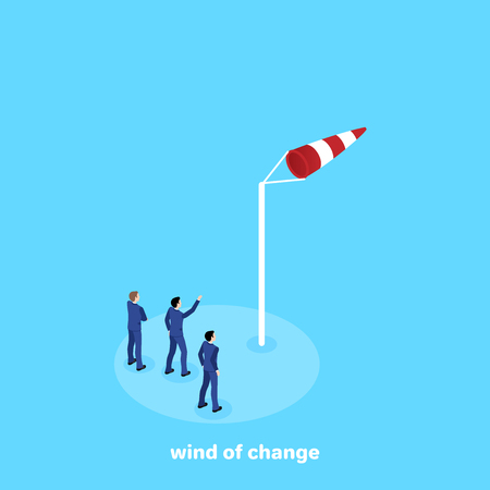 men in business suits look at the direction of the wind over the weathervane, isometric image Illustration
