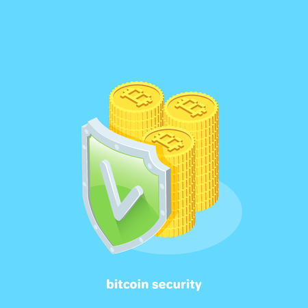 The columns of bitcoins and the shield with a tick, isometric image