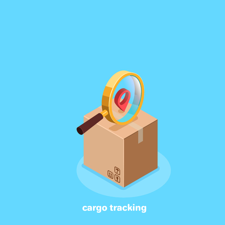 cardboard box on the magnifier and the sign of location, isometric image