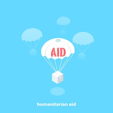 l'aide humanitaire vole en parachute, image isométrique Vecteurs