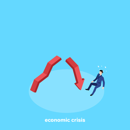 a man in a business suit fell from a broken arrow, an isometric image Ilustrace