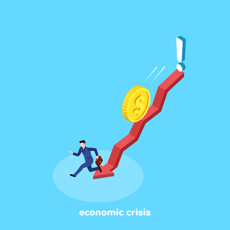 a man in a business suit runs down the arrow from a coin rolling on top, an isometric image