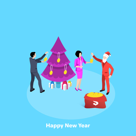 people in business suits and Santa Claus dress up a Christmas tree with gold coins, an isometric image