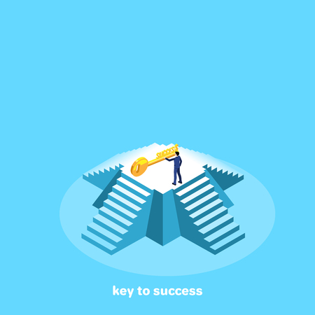 a man in a business suit stands on a pyramid and extends his hand to the key, an isometric image