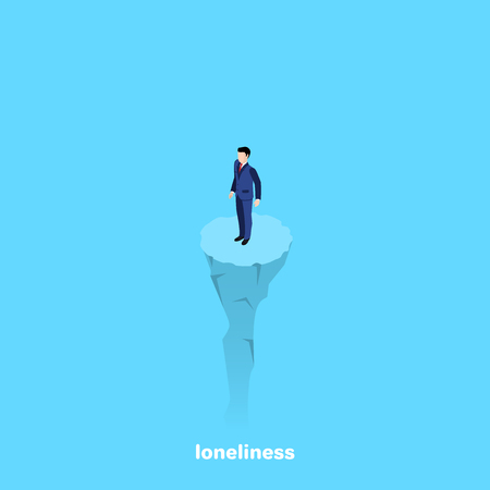 a man in a business suit stands on a lonely rock, isometric image