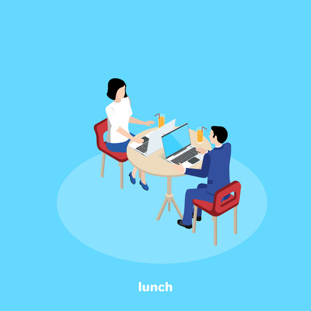 man and woman in a business suit at a round table with a laptop and a glass of juice, isometric image Vectores