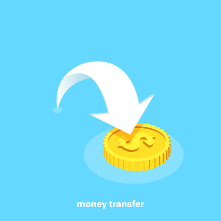 white arrow pointing to gold coin, money transfer, isometric image
