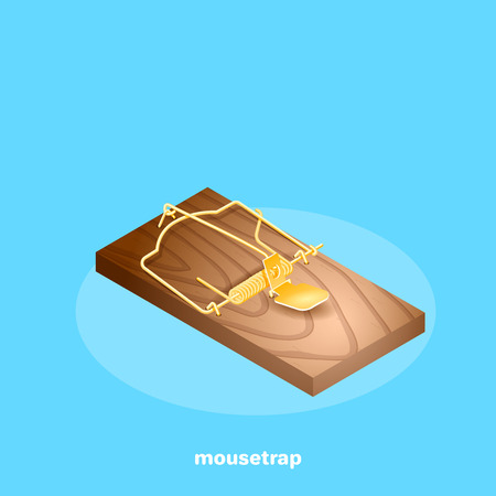 mousetrap on a blue background, isometric image