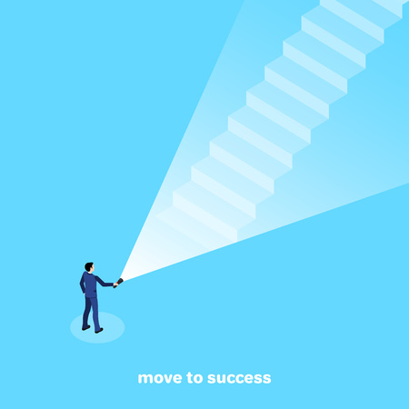 a man in a business suit shines a flashlight on the steps leading to the top, an isometric image