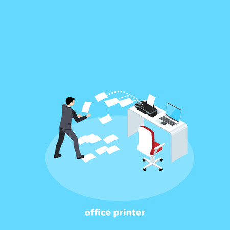 a man in a business suit at a workplace in the office can not cope with a printer, isometric image Stock Vector - 127304532