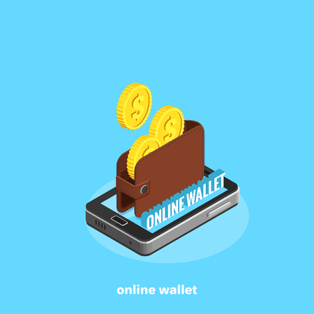 electronic wallet on the smartphone screen, isometric image