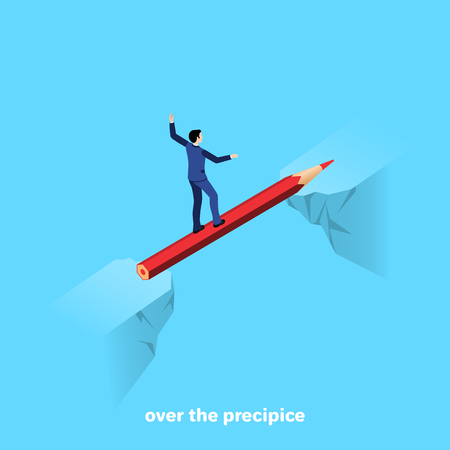 a man in a business suit walks along a pencil across a chasm between rocks, an isometric image