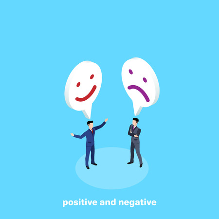 men in business suits on a blue background and smileys above them, isometric image