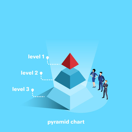 men and women in business suits stand next to the pyramid diagram, isometric image