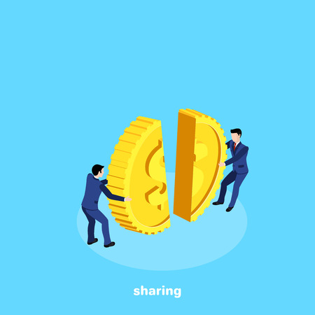 men in business suits pull in half the pieces of the gold coin, isometric image Vektorgrafik