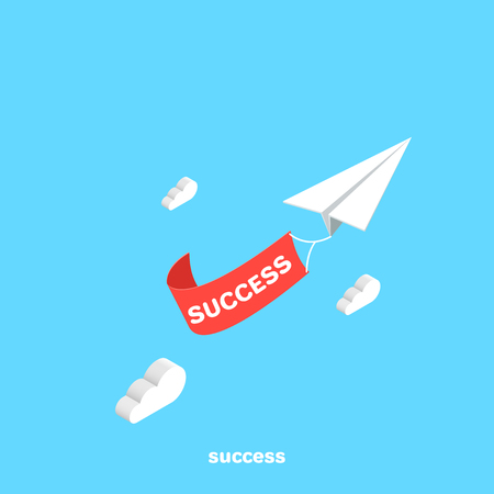 paper airplane with transponder as a symbol of success, isometric image