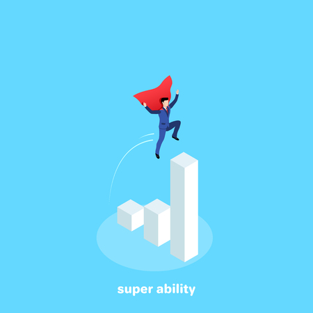a man in a business suit and a superheros cloak flies to the highest chart column, an isometric image