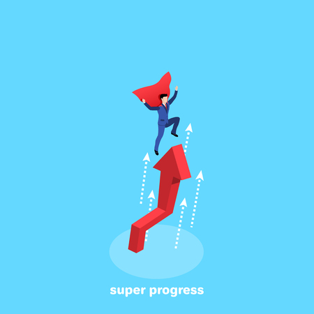 a man in a business suit and a superheros cloak flies over a red arrow tending upward, an isometric image Illustration