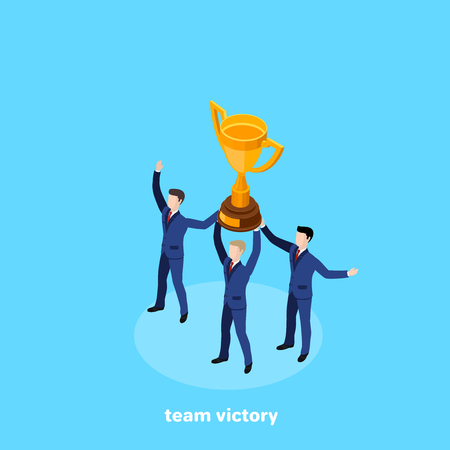 Men in business suits hold together a winner's cup, an isometric image