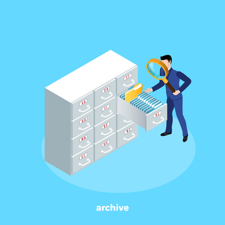 a man in a business suit with a magnifier looking for a file on the shelves of the archive, an isometric image Vector Illustration