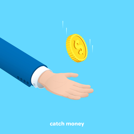 a man in a business suit catches a falling gold coin with one hand, an isometric image Illustration
