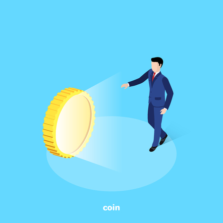 a man in a business suit stretches his hand to a gold coin radiates a bright light, an isometric image