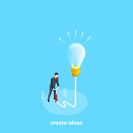 a man in a business suit with a pump blows a light bulb with ideas, an isometric image