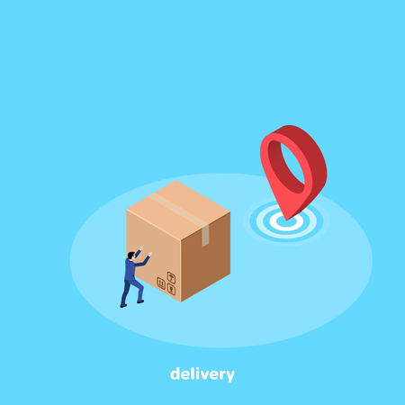 a man in a business suit pushes a large box to his destination, an isometric image