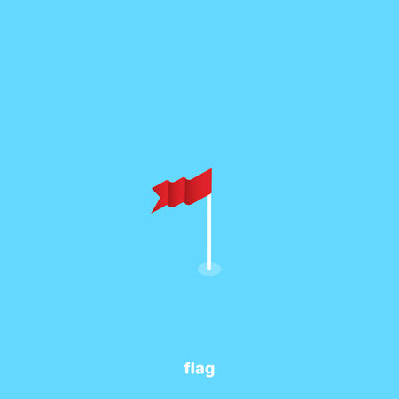 red waving flag on a blue background, isometric image