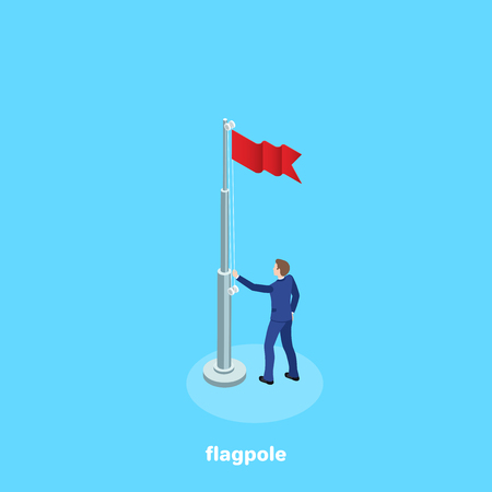 a man in a business suit raised a flag on a flagpole, an isometric image