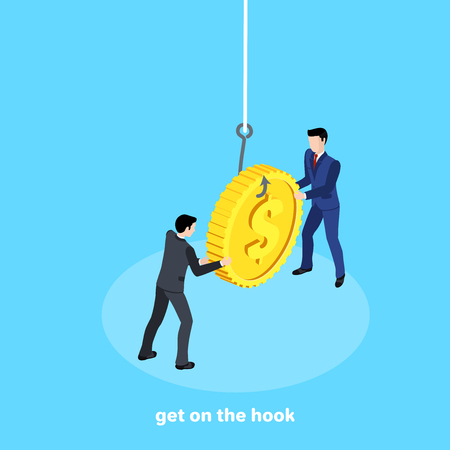 men in business suits are fighting for a coin hanging on a hook, an isometric image 일러스트