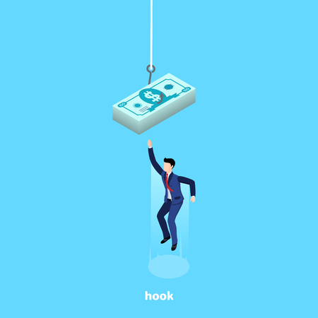 a man in a business suit jumps high up behind a pile of bills hanging on a hook, an isometric image