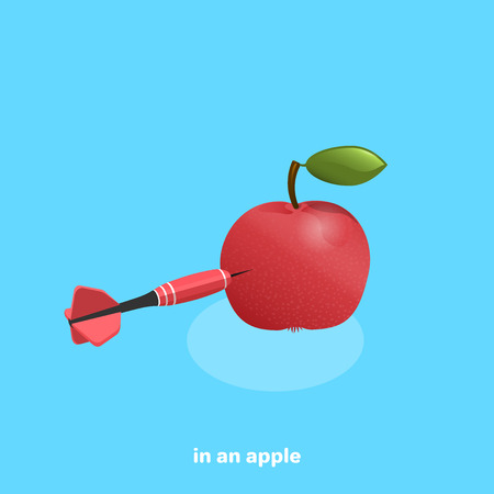 dart sticking out of a red apple lying on a blue background, isometric image