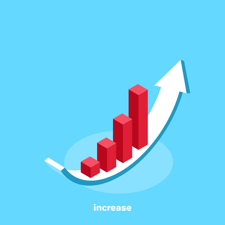 growing chart on a white arrow and on a blue background, isometric image