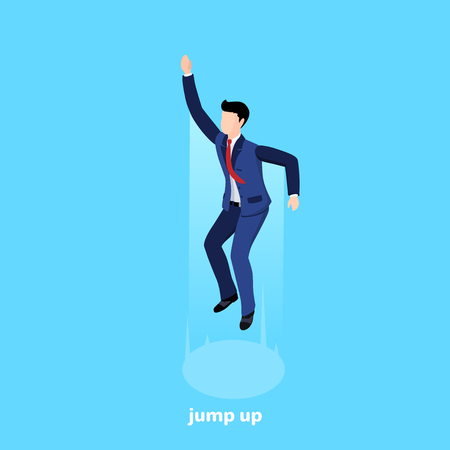 a man in a business suit jumped high up on a blue background, an isometric image