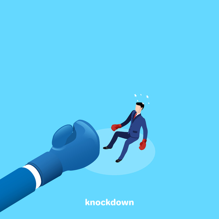 a man in a business suit and boxing gloves sent knockdown his opponent, an isometric image